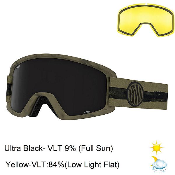 Giro Semi Goggles, Olive Dye Line-Ultra Black + Bonus Lens, 600