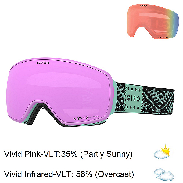 Giro Eave Womens Goggles, Frost Casablanca-Vivid Pink + Bonus Lens, 600