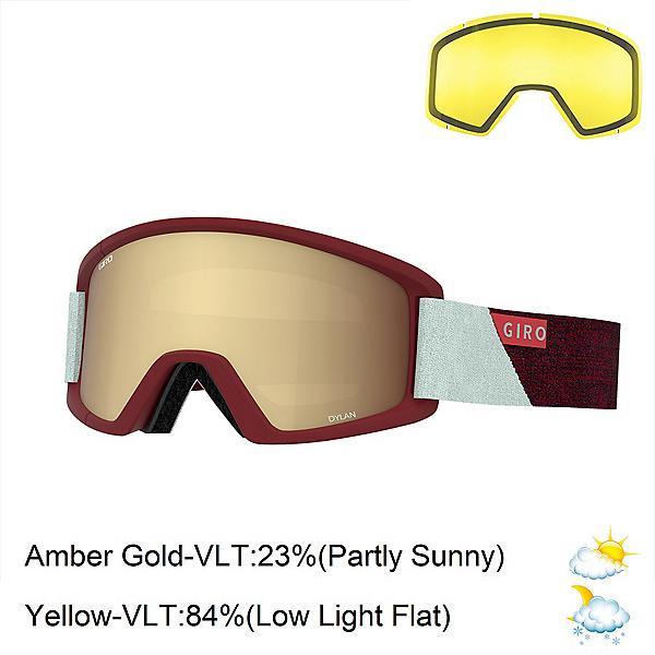 Giro Dylan Womens Goggles 2020, Scarlet Grey Peak-Amber Gold + Bonus Lens, 600