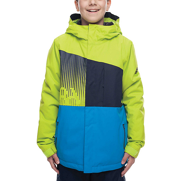 686 Knockout Boys Snowboard Jacket, Lime Colorblock, 600