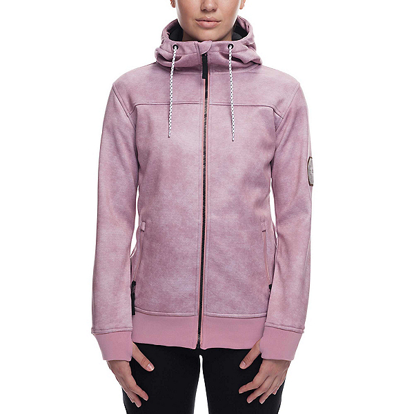 686 Ella Bonded Zip Fleece Womens Hoodie, Blush Wash, 600