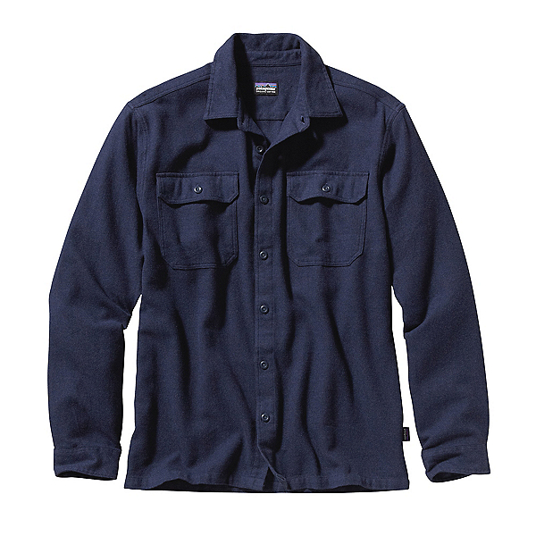 Patagonia Long Sleeved Fjord Flannel Shirt, Navy Blue, 600