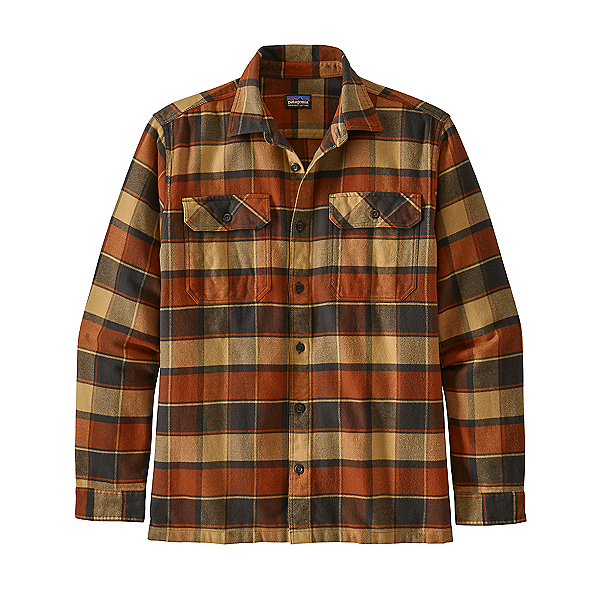 Patagonia Long Sleeve Fjord Flannel Shirt, Plots-Burnished Red, 600