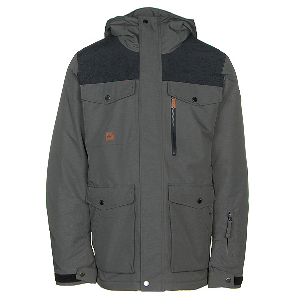 Quiksilver Raft Mens Insulated Snowboard Jacket, Grey Heather, 600