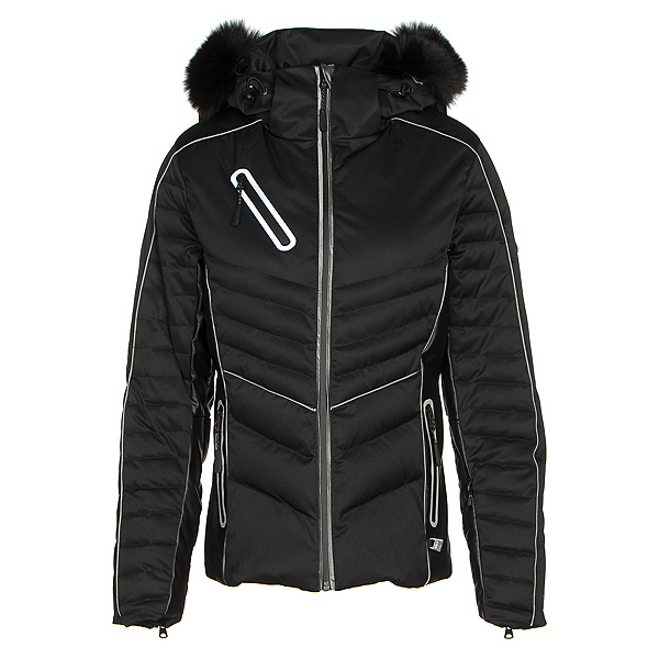 NILS Natasha Special Edition Real Fur Womens Insulated Ski Jacket, Black-Black Faux Leather, 600