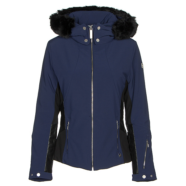 NILS Pia Faux Fur Womens Insulated Ski Jacket, Navy-Black, 600