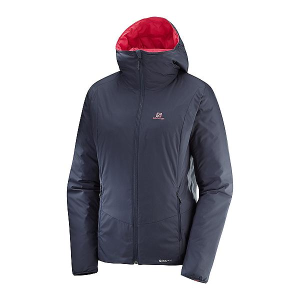 Salomon Drifter Loft Hoodie Womens Jacket, Graphite-Hibiscus, 600