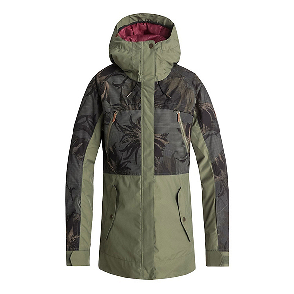 Roxy Tribe Womens Insulated Snowboard Jacket, Four Leaf Clover-Swell Flowers, 600