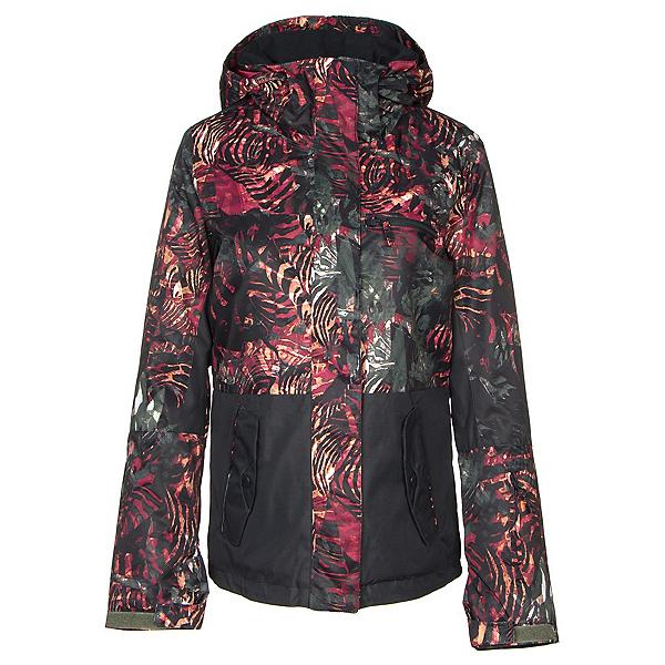 Roxy Jetty Block Womens Insulated Snowboard Jacket, Four Leaf Clover-Zebratree, 600