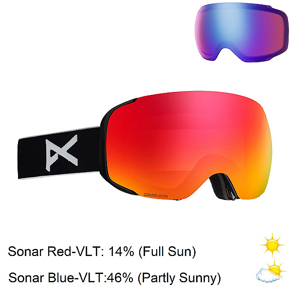Anon M2 MFI Goggles 2020, Black-Sonar Red + Bonus Lens, 600
