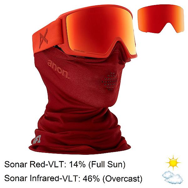 Anon M3 MFI Goggles, Red-Sonar Red + Bonus Lens, 600