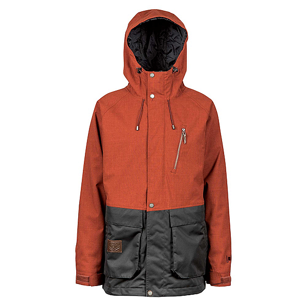 L1 Premium Goods Legacy Mens Insulated Snowboard Jacket, Rust-Black, 600