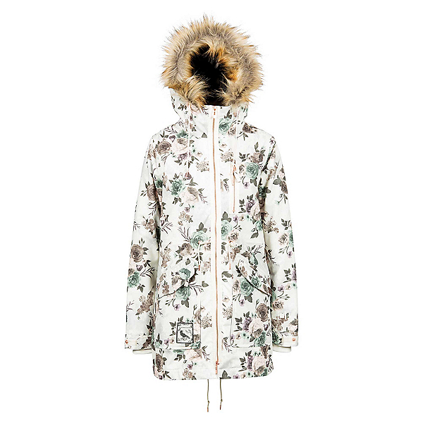 L1 Premium Goods Fairbanks w/Faux Fur Womens Insulated Snowboard Jacket, Peony Print, 600