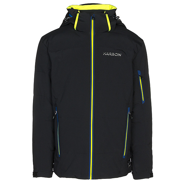 Karbon Thor Mens Insulated Ski Jacket, Black-Bright Yellow-Ink, 600