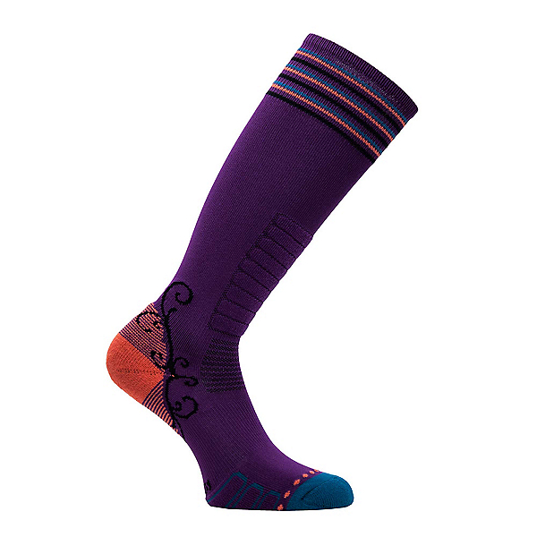 Euro Sock Sweet Silver Womens Ski Socks, Purple-Teal, 600