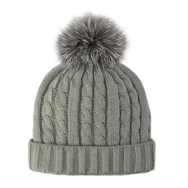 Mitchies Matchings Knitted with Fox Fur Pom Womens Hat, Grey, 600