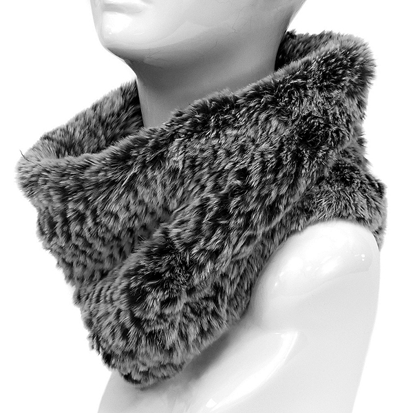 Mitchies Matchings Rabbit Knit Women's Neck Warmer, Black Ombre, 600