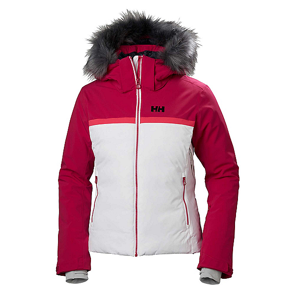 Helly Hansen Powderstar Womens Insulated Ski Jacket, White-Persian Red, 600