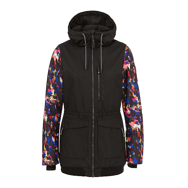 O'Neill Hybrid Culture Womens Insulated Snowboard Jacket, Black Aop-Pink, 600