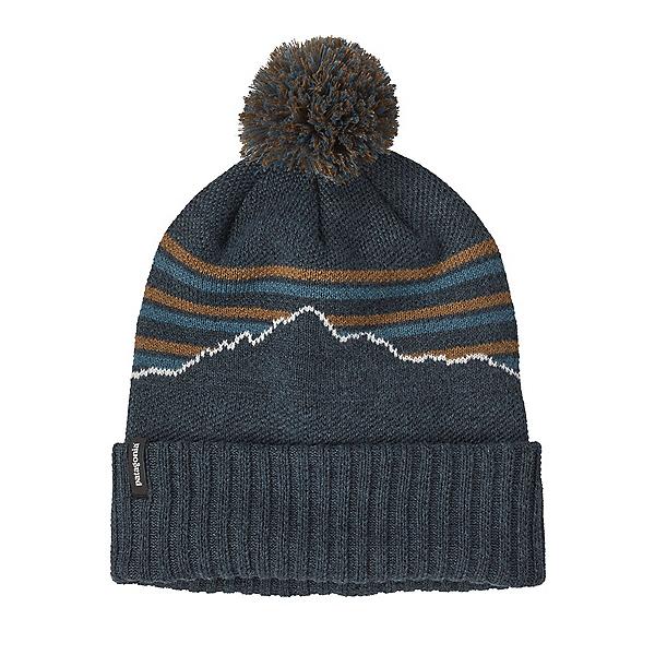 Patagonia Powder Town Beanie Hat 2022, Fitz Roy Stripe Knit Smolder Blue, 600