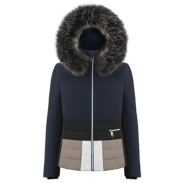 Poivre Blanc Faux Fur Womens Insulated Ski Jacket 2019, Gothic Blue2-Multico, 600
