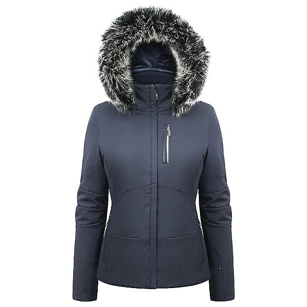 Poivre Blanc Faux Fur Stretch Womens Insulated Ski Jacket, Gothic Blue2, 600