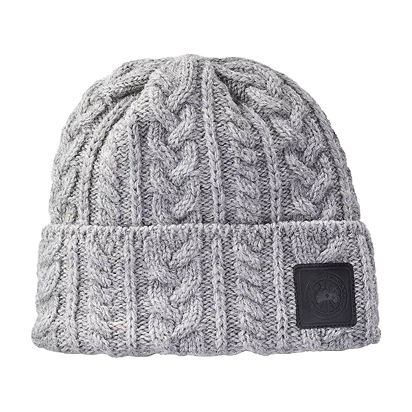Canada Goose Chunky Wool Beanie Womens Hat, Heather Grey, 600
