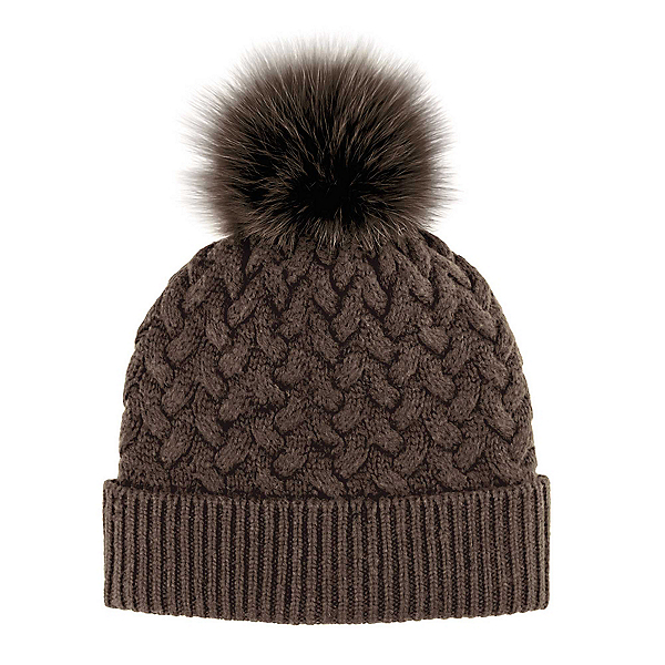 8ad3c33f1 Braided Knit with Fox Fur Pom Womens Hat