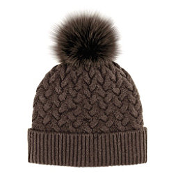 85d31eb7895 Mitchies Matchings Braided Knit with Fox Fur Pom Womens Hat