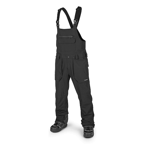 Volcom Roan Bib Overall Mens Snowboard Pants, Black, 600