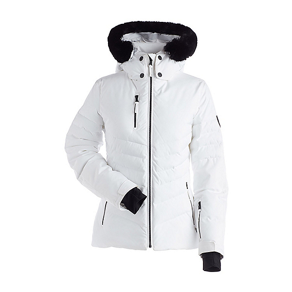 NILS Makala Faux Fur Womens Insulated Ski Jacket, White, 600