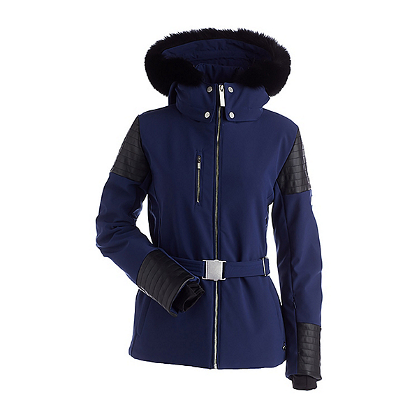 NILS Posh Real Fur Womens Insulated Ski Jacket, Navy-Black Faux Leather, 600