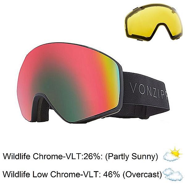 Vonzipper Jetpack Goggles, Black Satin-Wild Fire Chrome + Bonus Lens, 600