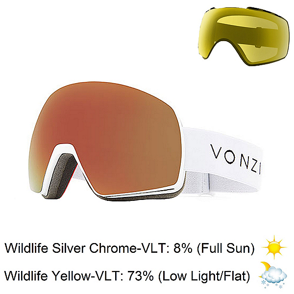 Vonzipper Satelite Goggles, White Satin-Wild Black Fire + Bonus Lens, 600