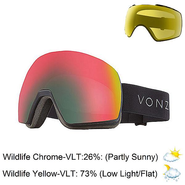 Vonzipper Satelite Goggles, Black Satin-Wild Chrome + Bonus Lens, 600