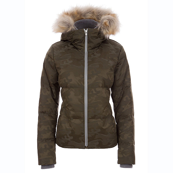 FERA Chloe Special Edition - Faux Fur Womens Insulated Ski Jacket, Olive Camo, 600