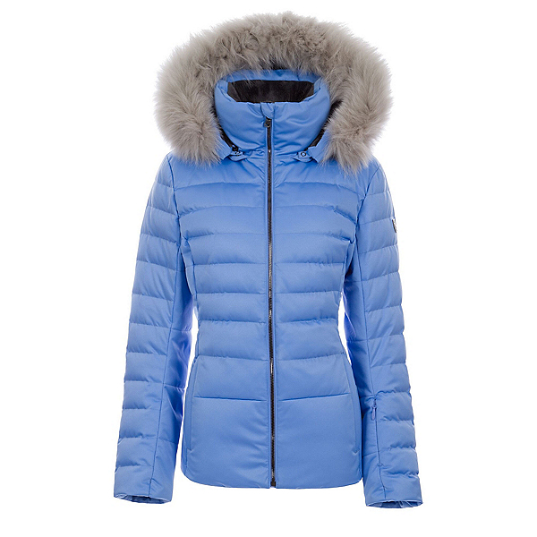FERA Julia - Real Silver Fox Fur Womens Insulated Ski Jacket, Periwinkle, 600