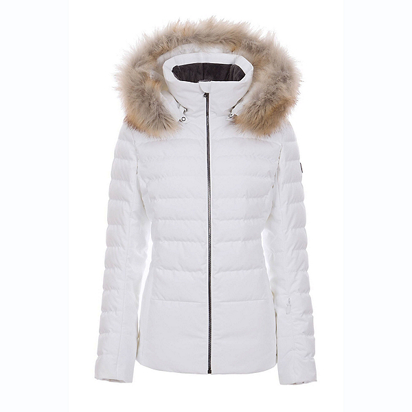 FERA Julia - Faux Fur Womens Insulated Ski Jacket, White Cloud, 600