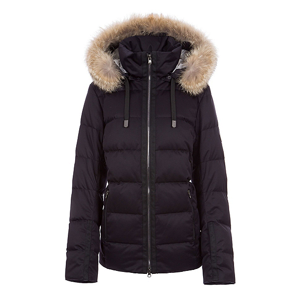 FERA Harper - Real Fur Womens Insulated Ski Jacket, Black Satin, 600
