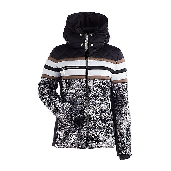 NILS Sansa Womens Insulated Ski Jacket, Solstice Print-White-Black-Bro, 600