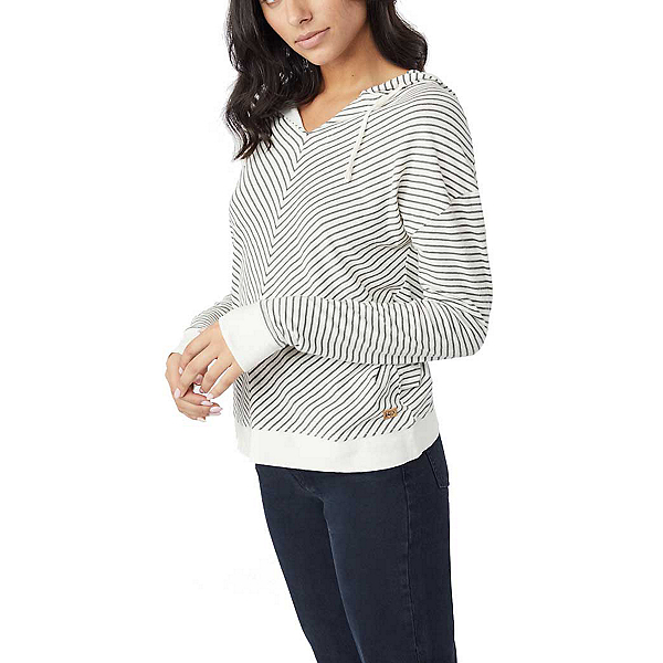 Tentree Piney Womens Hoodie, White-Gargoyle Grey Stripe, 600