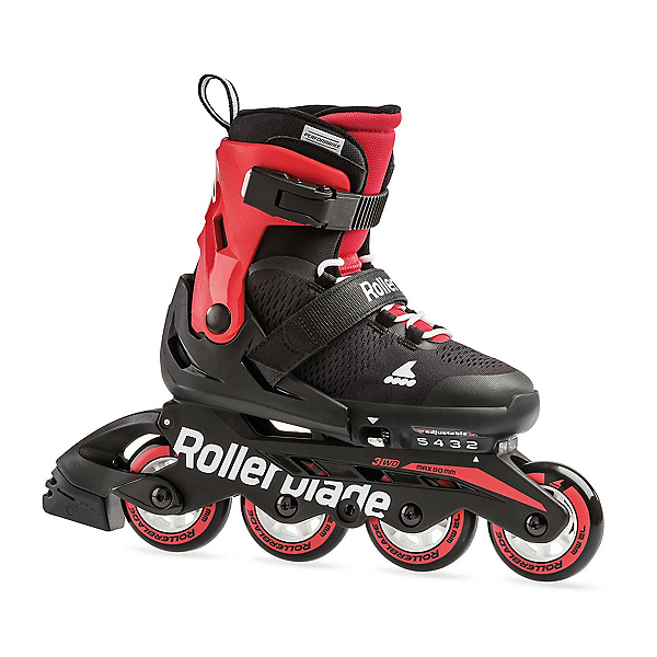 Rollerblade Microblade Adjustable Kids Inline Skates, Black-Red, 600