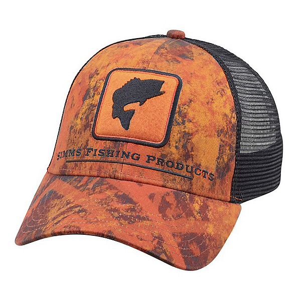 Simms Bass Icon Trucker Hat, Velocity Print Orange, 600