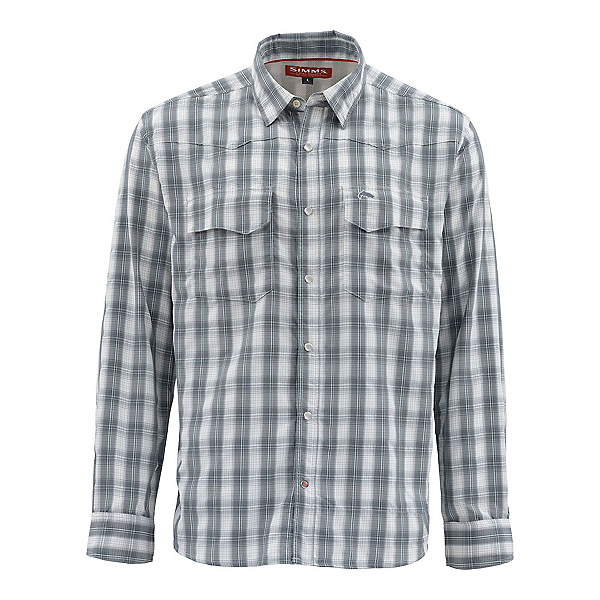 Simms Big Sky Long Sleeve Mens Shirt, Storm Plaid, 600