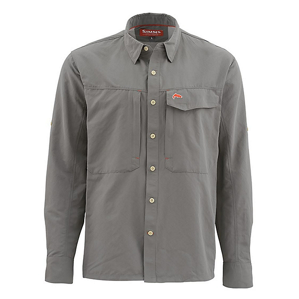 Simms Guide Long Sleeve Solid Mens Shirt, Pewter, 600