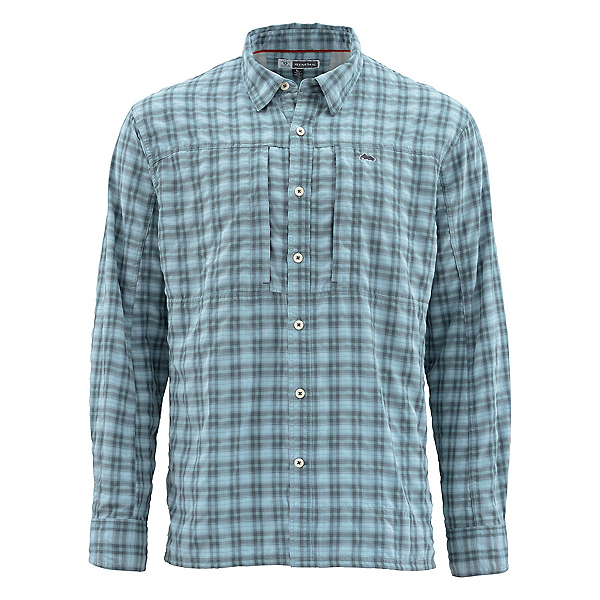 Simms Bugstopper Long Sleeve Mens Shirt, Storm Plaid, 600