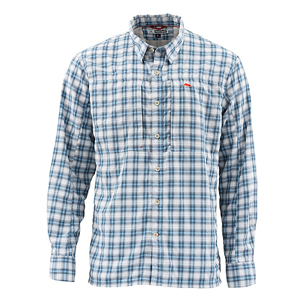Simms Bugstopper Long Sleeve Mens Shirt 2020, Faded Denim Plaid, 600