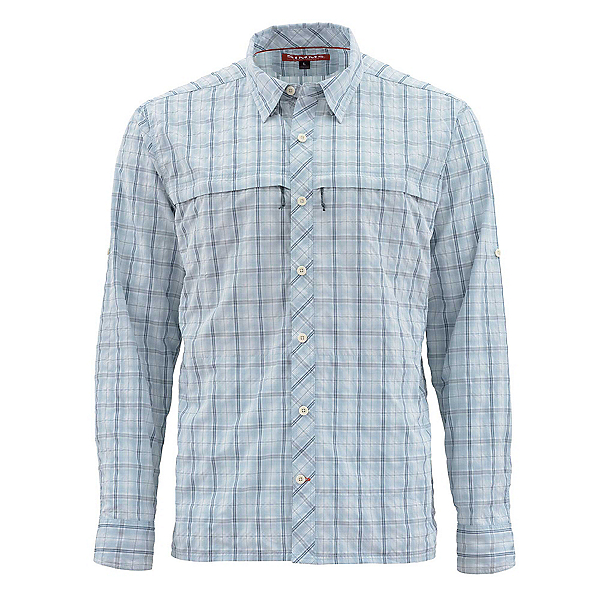 Simms Stone Cold Long Sleeve Mens Shirt, Fog Plaid, 600