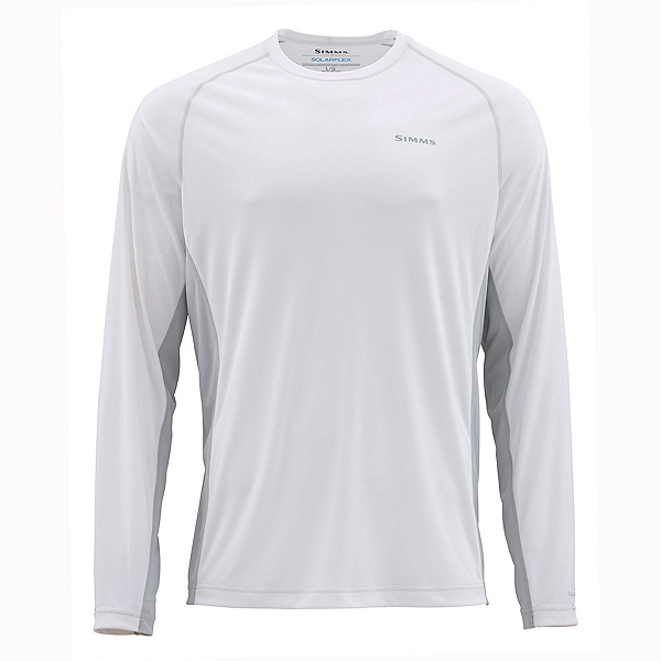 Simms Solarflex Long Sleeve Crew Mens Shirt 2020, White #2, 600