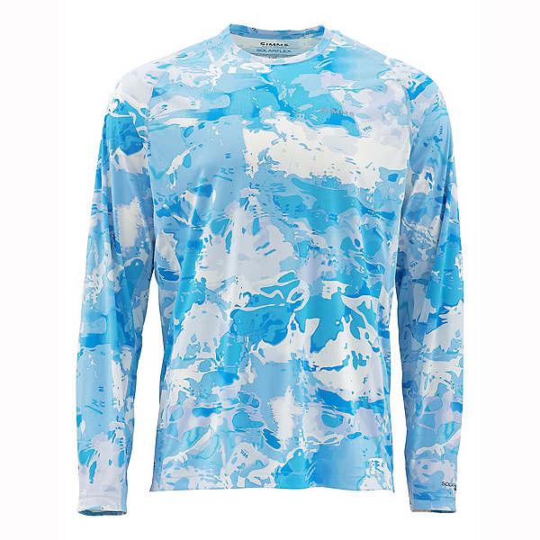 Simms Solarflex Long Sleeve Print Crew Mens Shirt, Cloud Camo Blue, 600